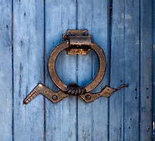 Southwest Door Knocker on Blue Door by Lucinda Walter