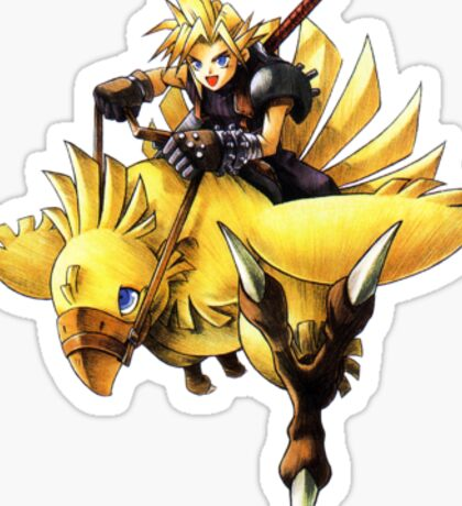 Cloud rides a chocobo !! Sticker