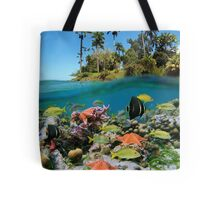 Tropical island and colorful underwater marin life Tote Bag