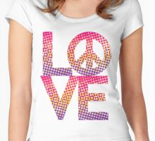 LOVE Peace Color Halftone Women's Fitted Scoop T-Shirt
