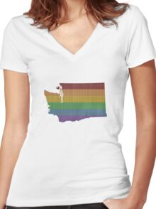Washington Rainbow Gay Pride Women's Fitted V-Neck T-Shirt