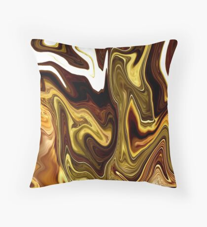 yummy candy Chocolate Carmel gold yellow Swirl Throw Pillow