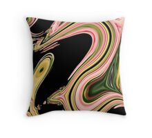 modern abstract black green neon pink swirls Throw Pillow