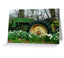 Old John Deere and Daffodils Greeting Card