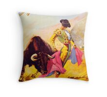Mexico Bull Fighter Vintage Poster Restored Throw Pillow