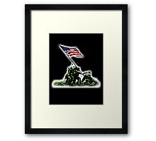 American War Flag, USA, Raising the Colours, Iwo Jima, America, Americana, WW2, WWII Framed Print