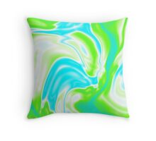 trendy watercolor spring bright aqua blue neon green swirls Throw Pillow