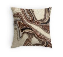 abstract rustic wood grain brown marble texture Throw Pillow