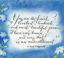 F. Scott Fitzgerald quote calligraphy art by Melissa Goza