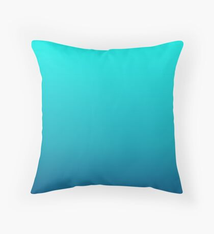 summer beach chic abstract teal blue turquoise ombre  Throw Pillow