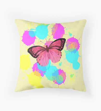 girly cute colorful paint splash pink butterfly Throw Pillow