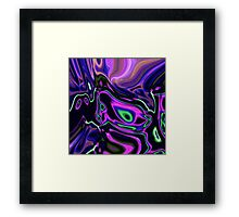 retro abstract northern light rays neon purple green Framed Print
