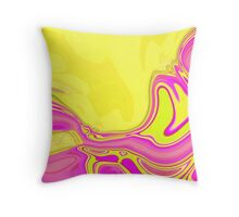 preppy vivid neon colorful hot pink yellow swirls  Throw Pillow