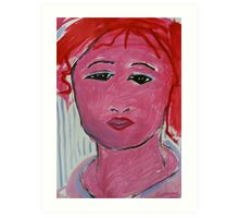 The Red Faced GIRL Art Print