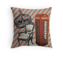 retro jubilee victorian chair london telephone booth Throw Pillow