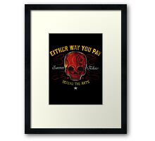 DEFEND THE ARTS RED SKULL Framed Print
