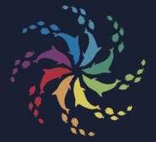 Color: Dolphin Rainbow Pinwheel One Piece - Long Sleeve