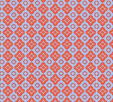 Blue Red Tile Pattern by elledeegee