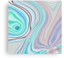 abstract marble pattern purple turquoise swirls cotton candy Canvas Print