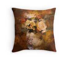 paris autumn gold orange oil painting flowers Throw Pillow