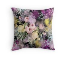 shabby chic french country flowers vintage black floral Throw Pillow