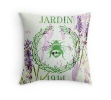 french shabby chic lavender vintage bee Throw Pillow