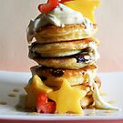 Mini Blueberry Pancakes with Mango Stars & Strawberry Hearts by mjds