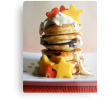 Mini Blueberry Pancakes with Mango Stars & Strawberry Hearts Metal Print