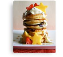 Mini Blueberry Pancakes with Mango Stars & Strawberry Hearts Canvas Print