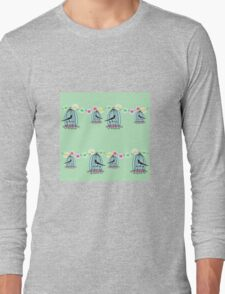 Magpies in cages with fairy lights Long Sleeve T-Shirt