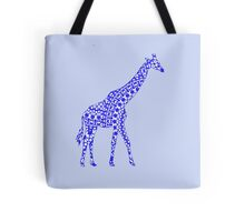 Cute Whimsy Blue Patterned Giraffe Tote Bag