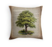 hippie hipster fashion botanical art vintage oak tree Throw Pillow