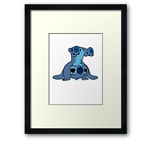 Cute Stitch upside down Framed Print