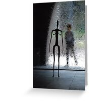 sculpture against water-wall Greeting Card