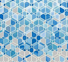 Cubes & Diamonds in Blue & Grey by micklyn