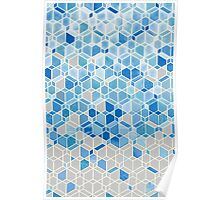 Cubes & Diamonds in Blue & Grey Poster