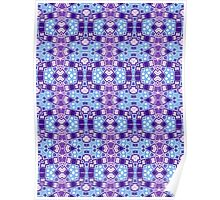 Blue, Purple and Silver Abstract Design Pattern Poster