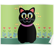 Cat, Butterflies, Lady Bug and a Snail Poster