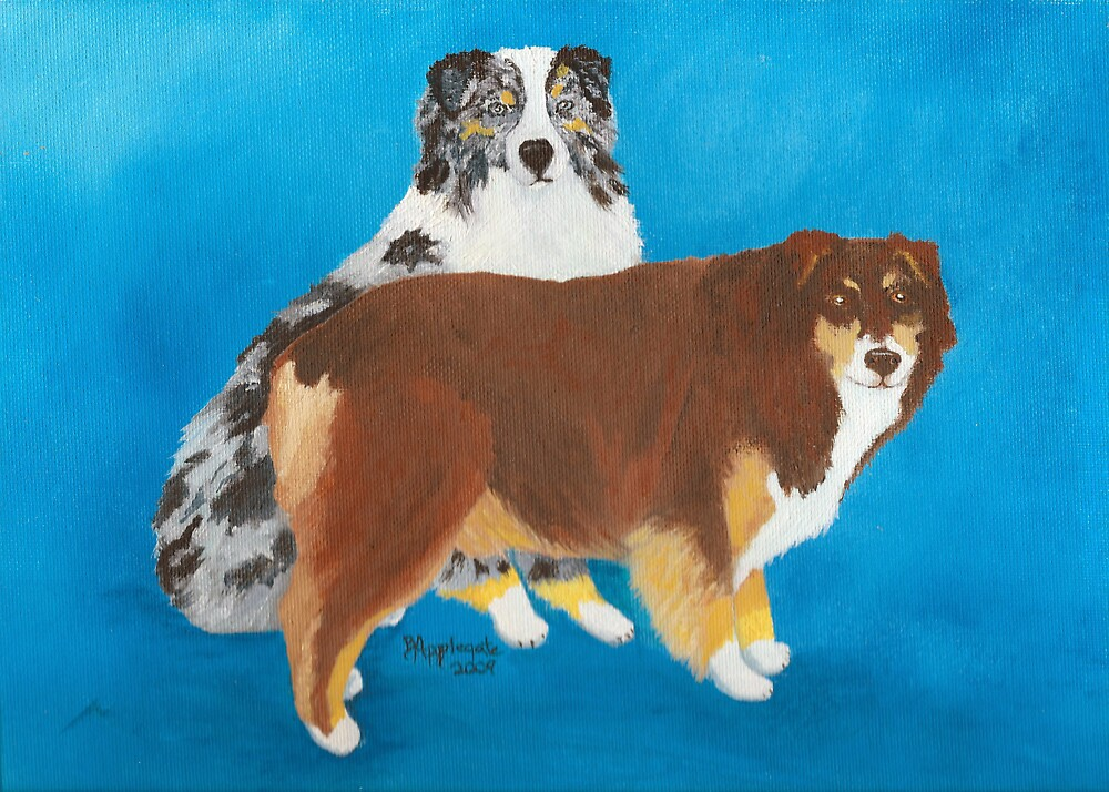 My Buddies ~ Australian Shepherd ~ Oil Painting by Barbara Applegate