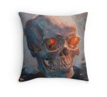 Skull Oil Painting Throw Pillow