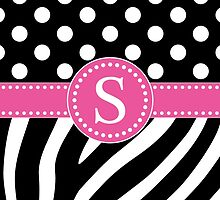 Black and White Zebra Stripes and Polka Dots S Monogram by DebiDalio