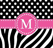 Black and White Zebra Stripes and Polka Dots M Monogram by DebiDalio