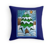Stained Glass Tiffany style Christmas Tree Throw Pillow