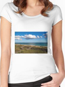 Emerald Isle Beach, Between the Dunes and Clouds Women's Fitted Scoop T-Shirt