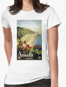Amalfi Italy Italia Vintage Poster Restored Womens Fitted T-Shirt