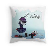 L'Artiste Cute Big Eyed Painter Girl Throw Pillow