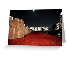 Poppies at the Tower of London - At Night with the Shard. Greeting Card