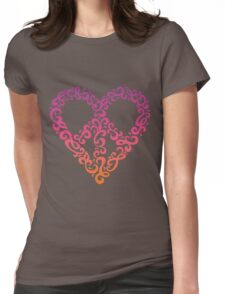 Floral Peace Heart Womens Fitted T-Shirt