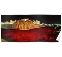 Poppies at the Tower of London -  Night Panorama Poster