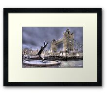 Tower Bridge and Fountain in London at Night Framed Print